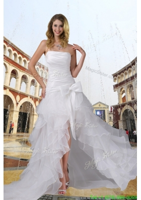 Classic Strapless High Low Ruching Bowknot Wedding Dress