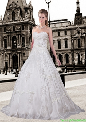 Elegant A Line Sweetheart Court Train Wedding Dresses with Appliques