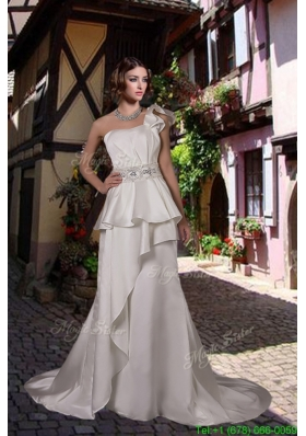 Fall Classic One Shoulder Beading Wedding Dress with Court Train