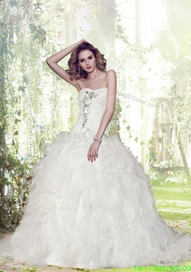 Spring Gorgeous Ball Gown Court Train Beading Wedding Dresses with Sweetheart
