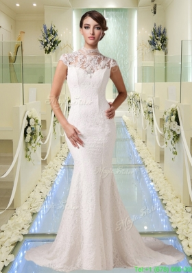 2015 Beautiful Mermaid High Neck Lace Wedding Dress with Short Sleeves