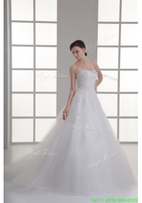 2016 Summer A line Sweetheart Sweep Train Wedding Dress with Sequins
