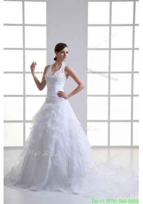 A line Halter Top Appliques and Ruching Court Train Wedding Dress