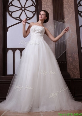A Line Strapless Beading Tulle and Organza Zipper Up Wedding Dress