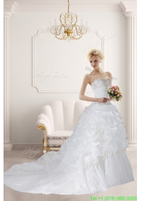 Ball Gown Sweetheart Ruffles 2016 Beautiful Wedding Dress with Court Train