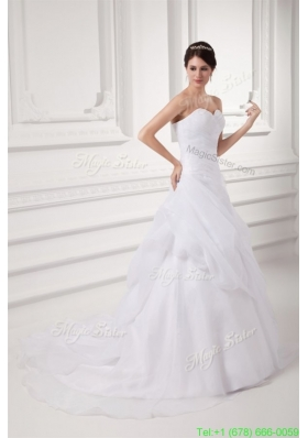 Beautiful Court Train Elegant A line Sweetheart Wedding Dress with Pick ups