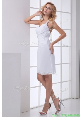 Beautiful White One Shoulder Wedding Dress with Beading and Ruches