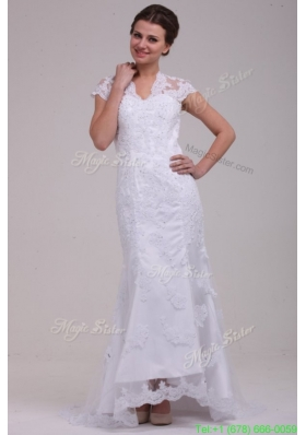 Column High Neck Appliques Open Back Lace Wedding Dress with Brush Train