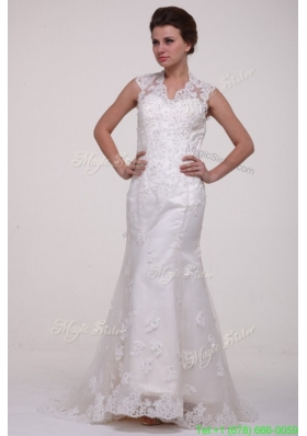 Column High Neck Brush Train Appliques Lace Wedding Dress