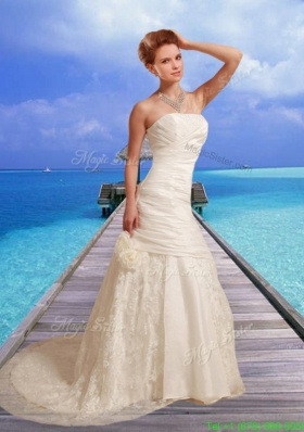Customize Hand Made Flower Wedding Dress with Court Train