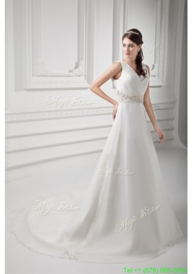 Elegant A line V neck Court Train Wedding Dress with Beading and Ruching