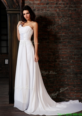 Empire Strapless Court Train Lace Up Chiffon Wedding Dress Beach