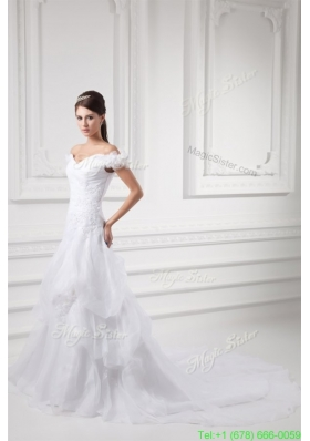 Fall A line Off The Shoulder Appliques and Pick ups Wedding Dress