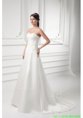 Fall A line Sweetheart Appliques Satin Court Train Wedding Dress