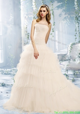 Fall Beautiful Ball Gown Appliques Wedding Dress With Ruffled Layers