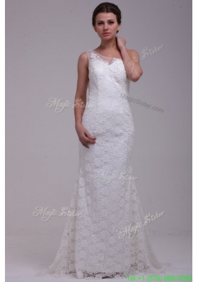 Fall One Shoulder Column Lace Organza Brush Train Wedding Dress
