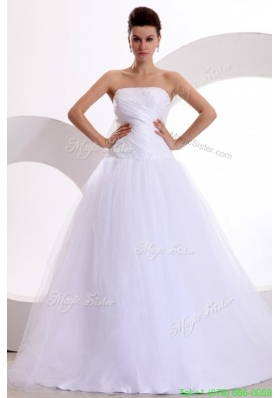 Fall Princess Strapless Ruching Brush Train Tulle Wedding Dress