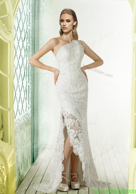 Lace One Shoulder Brush Train Column Wedding Dress for 2015
