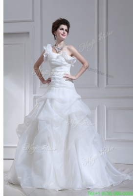 Princess One Shoulder Court Train Wedding Dress with Pick ups and Ruching