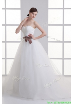 Spring A line Sweetheart Sash Ruching Tulle Wedding Dress