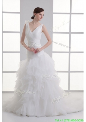 Spring A line V neck Hand Made Flower Ruching Ruffles Court Train Wedding Dress