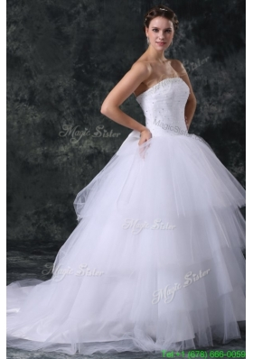 Spring Ball Gown Strapless Court Train Beading Lace Up Tulle Wedding Dress