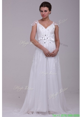 Spring Empire V Neck Floor length Zipper Up Wedding Dress with Beading