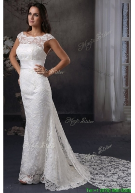 Spring Luxurious Column Scoop Lace Wedding Dress with Watteau Train