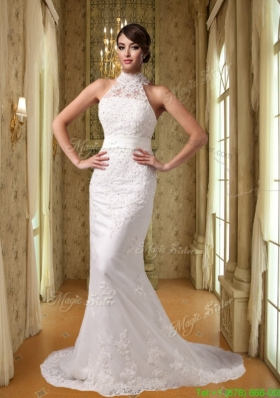 Summer Beautiful Mermaid High Neck Court Train Lace Appliques Wedding Dress