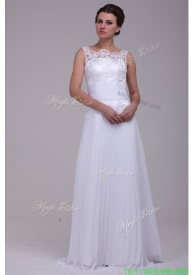 Summer Column Scoop Brush Train Chiffon Wedding Dress with Lace