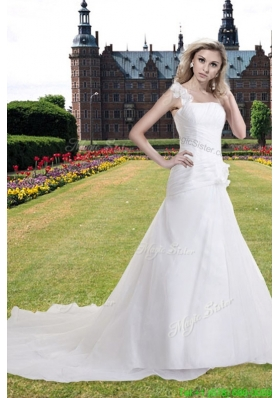 Summer Princess One Shoulder Wedding Dress with Chapel Train