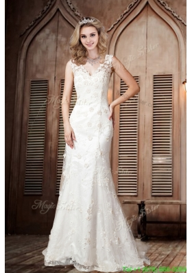 Summer Sexy Lace Column V neck Wedding Dresses with Brush Train