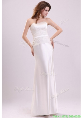 Summer Strapless Column Appliques Decorate Bodice Floor length Wedding Dress