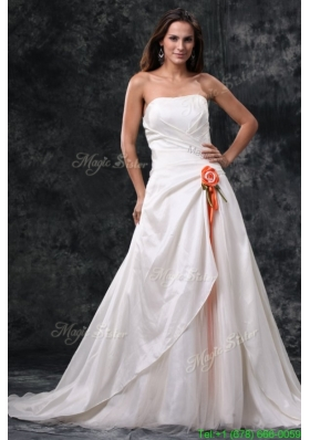 Winter Column Strapless Ruching Court Train Taffeta Wedding Dress