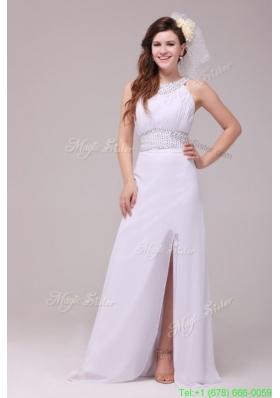 Winter Empire Scoop High Slit Beading Ruching Floor length Wedding Dress