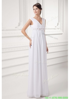 Winter Empire V neck Appliques Chiffon Ruching Wedding Dress