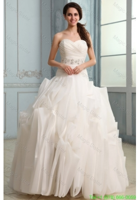 2015 Winter Sweetheart Beaded Decorate Waist Organza Wedding Dress with Ruffles