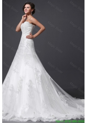 2016 Spring A-Line Sweetheart Appliques and Lace Wedding Dress with Court Train