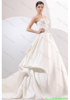 2016 Spring A-Line Sweetheart Taffeta Embroidery and Beading Wedding Dress