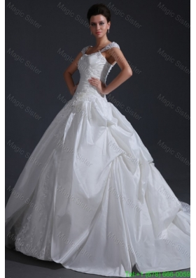 2016 Spring Ball Gown Wide Straps Wedding Dress with Appliques and Flowers