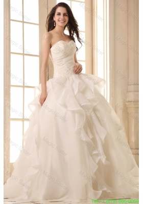 2016 Summer Ball Gown Sweetheart Wedding Dress with Appliques and Ruffles