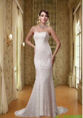 2016 Summer White Strapless Mermaid Lace Wedding Dress with Brush Train