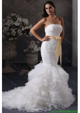 2015 Winter Luxurious Mermaid Strapless Ruching and Sash Court Train Organza Wedding Dress
