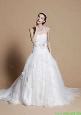 2016 Romantic A Line Strapless Wedding Dresses with Hand Made Flowers
