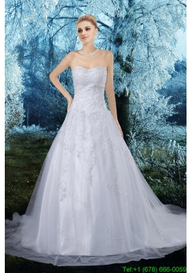 2016 Spring Elegant A Line Sweetheart Appliques Court Train Wedding Dresses