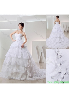 2016 Spring White Ball Gown Sweetheart Paillette Ruffled Layers Wedding Dress