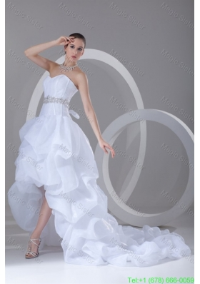 A-line Sweetheart High-low Beading Pick-ups Wedding Dress