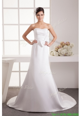 Bowknot Accent Waist Strapless Wedding Dresses with Court Train
