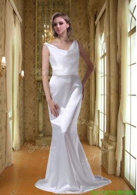 Most Popular V Neck Cheap Sweep Train Wedding Dress