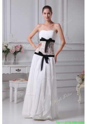 2015 Winter Black Sashes Sweetheart Sheer lace Chiffon Bridal Gown